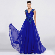 DressV Royal Blue Chiffon Long Evening Dresses V Neck A Line Floor Length Prom Dress Formal Occasions Appliques Evening Dress