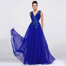 DressV kraliyet mavi şifon uzun abiye v yaka A Line kat uzunluk balo elbise resmi vesilelerle aplikler akşam elbise