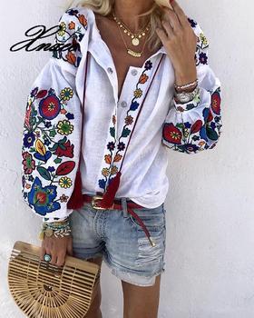 Women Floral Print Lantern Sleeve Blouse Bohemian Style Embroidery O-Neck Long Sleeve Fashion New Trends Spring Fall Shirt недорого