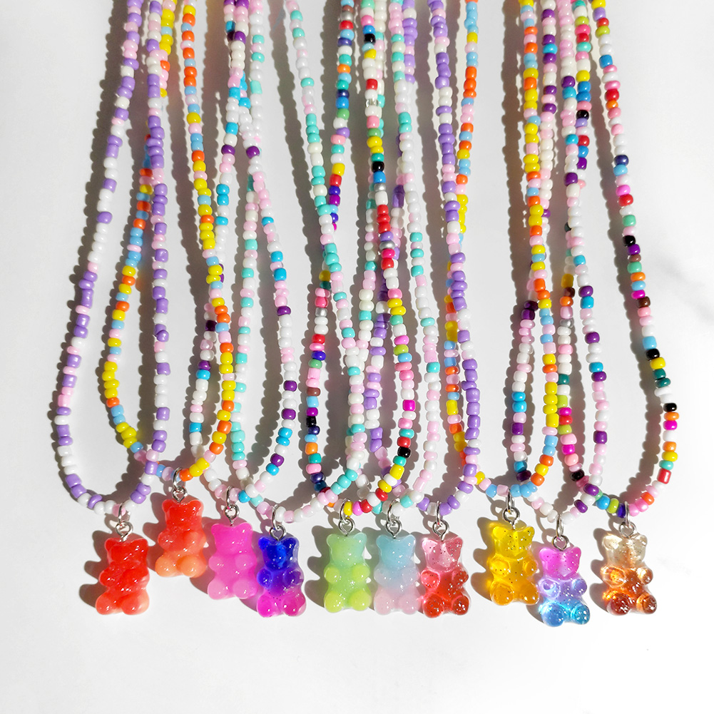 2021 Summer New Rainbow Beaded Gummy Bear Pendant Necklace For Women Cute Cartoon Animal Rice Bead Choker Necklaces Boho Jewelry