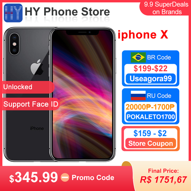 """Original Apple iPhone X 256GB/64GB ROM Unlocked Smartphon with Face ID iOS A11 5.8"""" OLED Screen 12MP Camera iphone x Cell phone 1"""