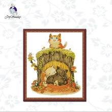 Радость воскресенье котенок под пень узоры ткани вышивки крестиком