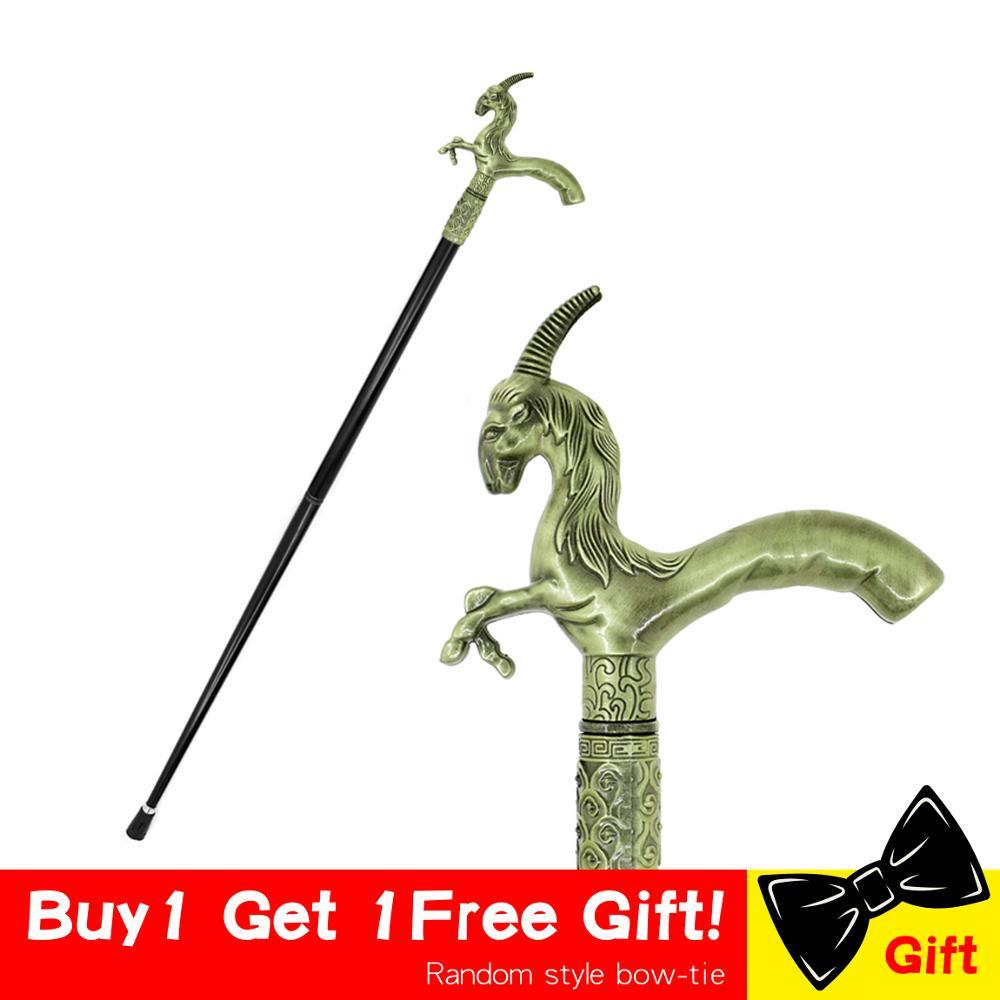 Men Fashion Walking Stick Cane Goat Unicorn Vintage Cane Aries Metal Fashion Cane Walking Canes Man Stick Crutch For Men 89cm