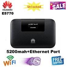 Разблокированный 150 Мбит/с 5200 мАч аккумулятор huawei E5770 4G LTE MiFi мобильный WiFi Pro маршрутизатор с RJ45 портом
