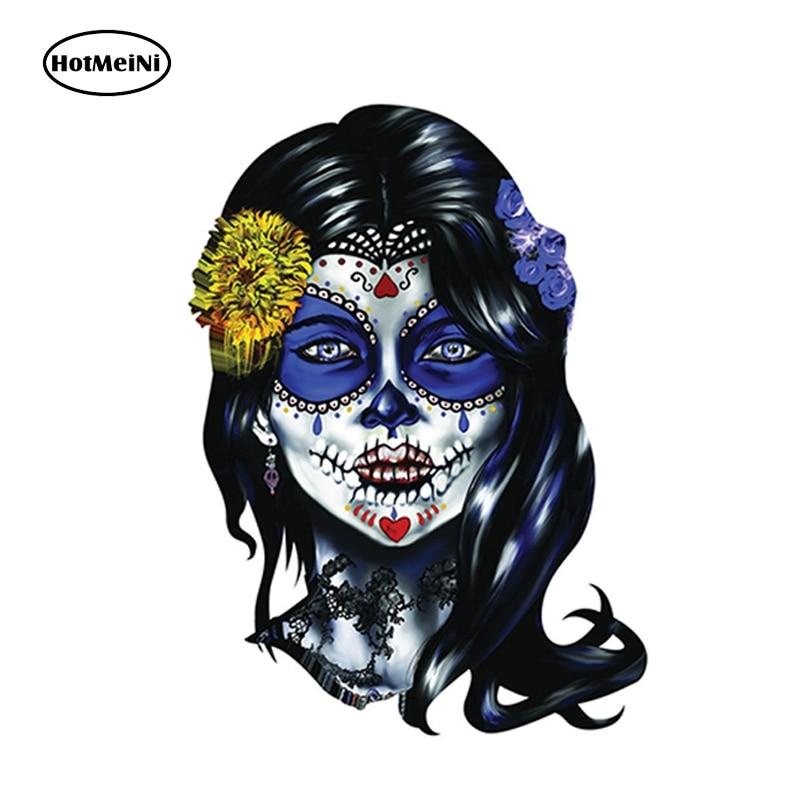 HotMeiNi 13cm x 9.5cm Sugar Skull Woman Sugar Face Decal Sticker Set of 2 - Window Car Laptop Toolbox Car Styling Vinyl Decal