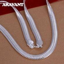 925 gümüş 10MM 20 inç düz yılan zincir kolye erkekler kadınlar için gümüş kolye moda takı