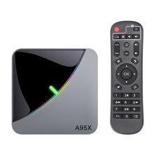 Decodificador A95X F3 AIR Dispositivo de TV inteligente con Android 9,0, luz RGB, 8K, UHD, 4K, 75fps, reproductor multimedia, wi fi 2,4 GHz/5 GHz, Amlogic S905X3, 4GB/64GB