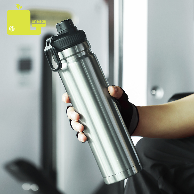 oneisall 750ml large capacity stainless steel thermos portable vacuum outdoor fitness sports thermos with rope water bottle|Water Bottles|   - AliExpress