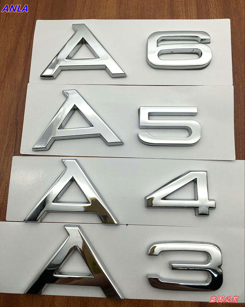 1pcs 3D ABS aluminum car Model logo Trunk sticker Badge styling for Audi A3 A4 A5 A6 letter Auto Accessories