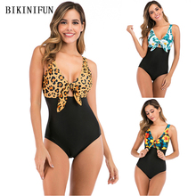 2020 New Leopard Swimsuit Women Front Cutout Monokini Floral Patchwork Swimwear S-2XL Girl Backless Bathing Suit One Piece Suit cutout design patchwork random floral embroidered dress in black