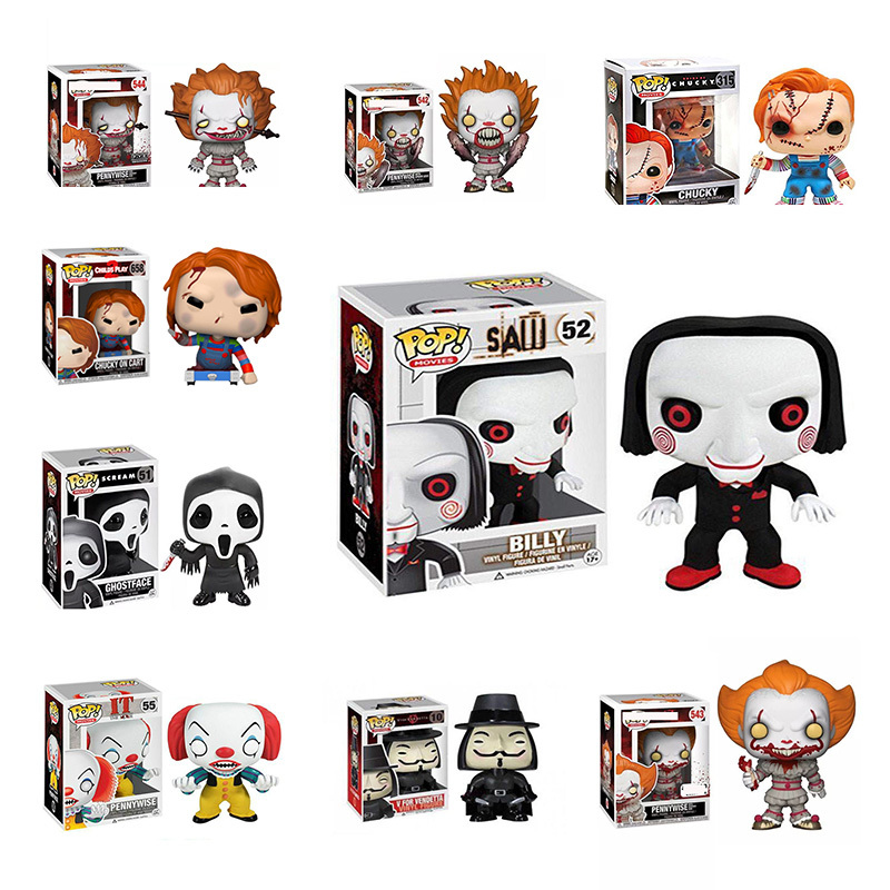 FUNKO POP Stephen King's It anime figure Toys for kids Christmas V for Vendetta Child's Play Saw Scream Pennywise image