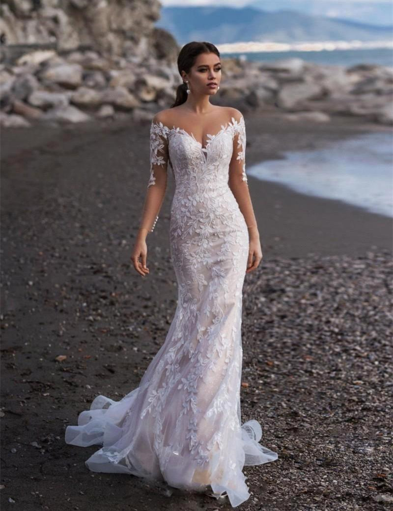 Vestido Novia White Ivory Mermaid Wedding Dress Long Sleeve Lace Appliques Wedding Gowns Custom Made Bride Beach Wedding Dresses