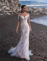 Vestido Novia White Ivory Mermaid Wedding Dress Long Sleeve Lace Appliques Wedding Gowns Custom Made Bride Beach Wedding Dresses