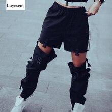 Black Dark Goth Women Long Cargo Pants 2020 Lady Plastic Buckle Zipper Hollow Out Reflective Punk Trouser Sport Cool Gothic Pant