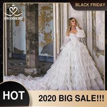 Swanskirt אפליקציות חתונת שמלת 2020 מתוקה 2 ב 1 שרוול כדור שמלת Ruched טול נסיכת F324 כלה Vestido דה novia