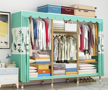 Simple cloth wardrobe steel pipe bold reinforced cloth wardrobe full steel frame thick storage cabinet hanging wardrobe