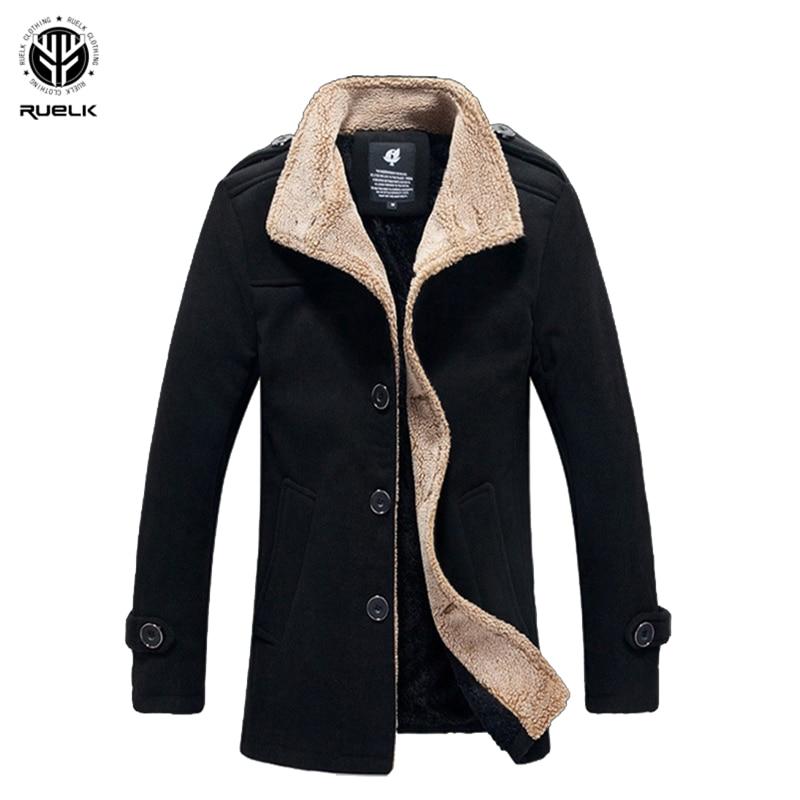RUELK 2020 Autumn And Winter New Slim And Velvet Men's Coat Korean Men's Windbreaker Lamb Wool Men's Woolen Coat Men Clothing