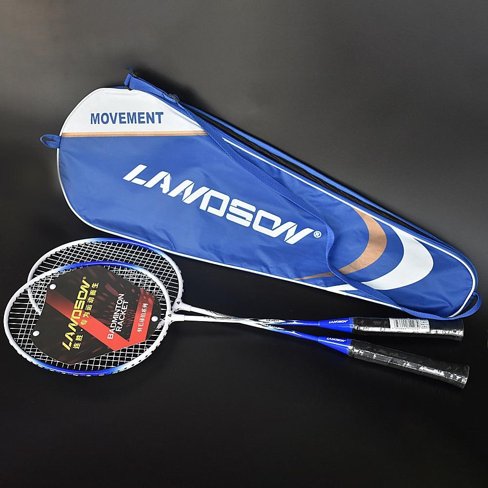 Landson High Elasticity Endurance Ferro Alloy Badminton Racket Two Badminton Rackets Portable Bag Sports Equipment