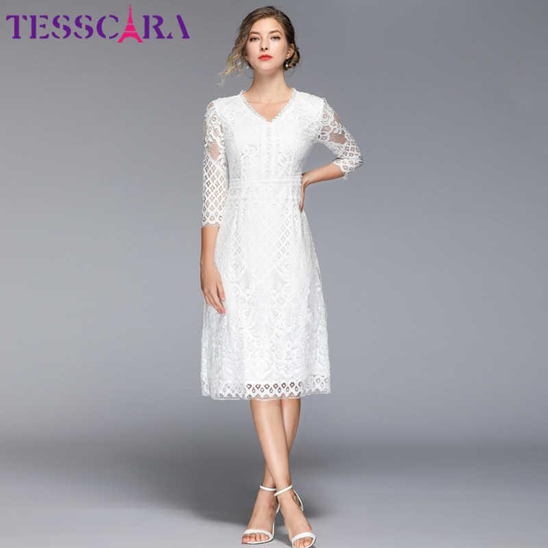 TESSCARA женское летнее элегантное белое кружевное платье Женская Длинная свадебная Женская одежда для вечеринки дизайнерская Высококачественная Цветочная девушка Vestidos