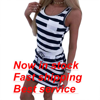 2020 New Ladies Short Sleeve Casual Sleeveless Striped Print Straight Dress Jacket Waist Dress button up shirred waist striped dress