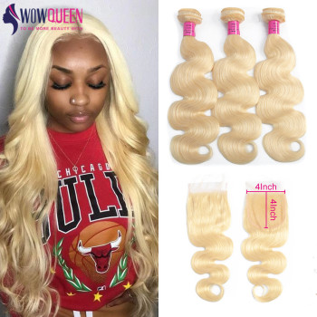 WOWQUEEN Hair 613 Bundles With Closure Brazilian Human Hair Body Wave Bundles With Closure Blonde Bundles With Closure Remy Hair