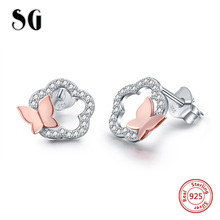 Luxury Flower Earrings 925 Sterling Silver Rose Gold Color Butterfly Stud for Women Jewelry Gift