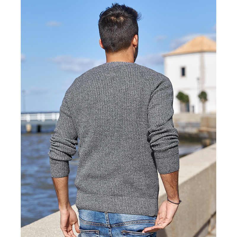 KUEGOU 2020 가을 100% 코튼 플레인 그레이 스웨터 남성 풀오버 캐주얼 점퍼 남성복 브랜드 니트 플러스 사이즈 옷 14012