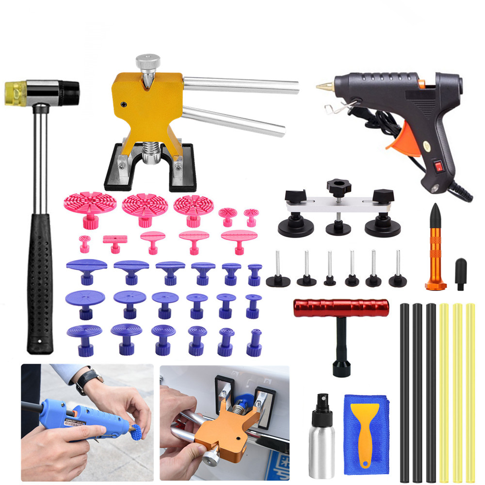 AUTO REPAIR TOOLS PAINTLESS DENT LIFTER T-BAR PDR TOOLS GLUE GUN TABS CAR BODY REMOVAL KIT НАБОР ИНСТРУМЕНТОВ HAIL REMOVA