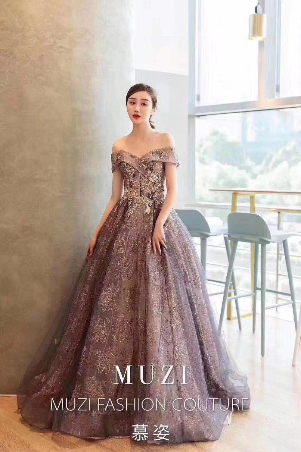 QSYYE 2019 lace pretty Long tulle   Prom     Dresses   off the shoulder A-line appliques floor-Length Evening   Dress   Party Gown