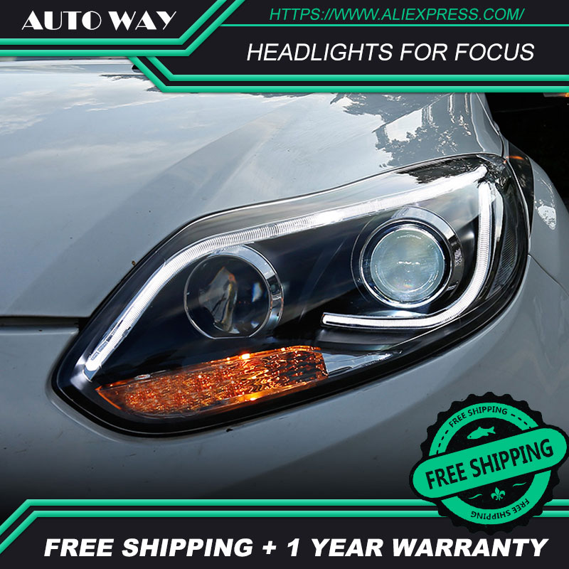 Car styling LED HID Rio LED headlights Head Lamp case for Ford Focus 2012 2014 Bi Xenon Ford Focus headlights Lens low beam Car Light Assembly     - title=