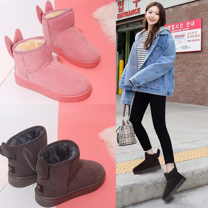 Thick warm snow boots female 2019 autumn and winter new women's boots wild Korean students rabbit ears short boots women's shoes