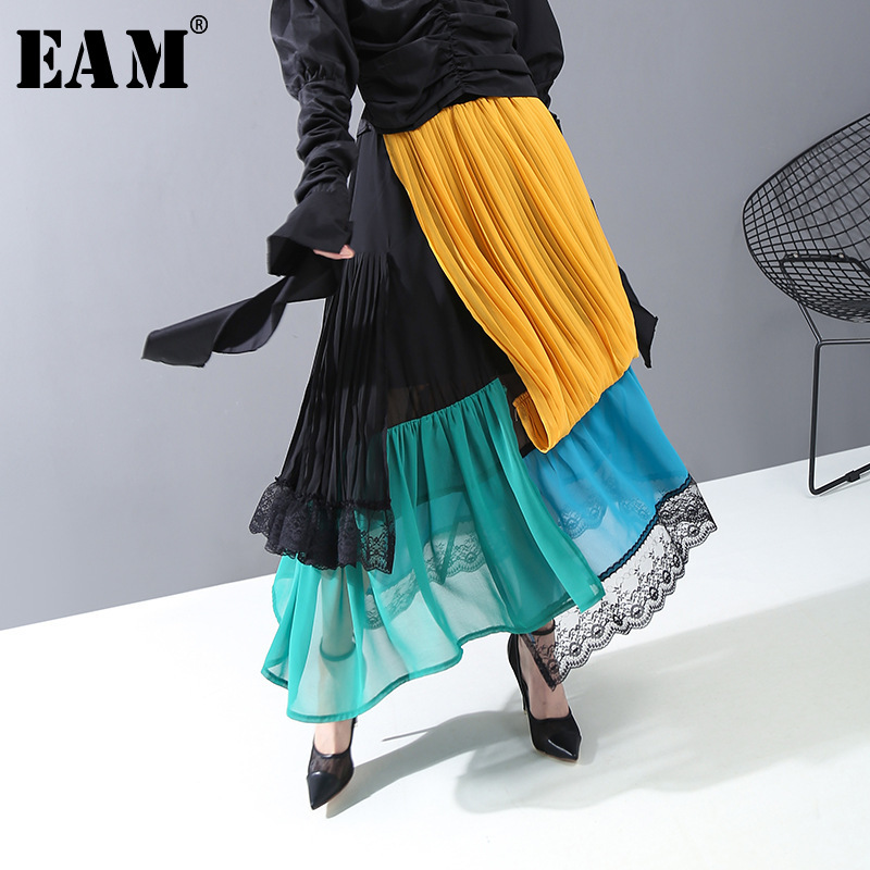[EAM] High Elastic Waist Pleated Lace Split Temperament Half-body Skirt Women Fashion Tide New Spring Autumn 2020 1R413