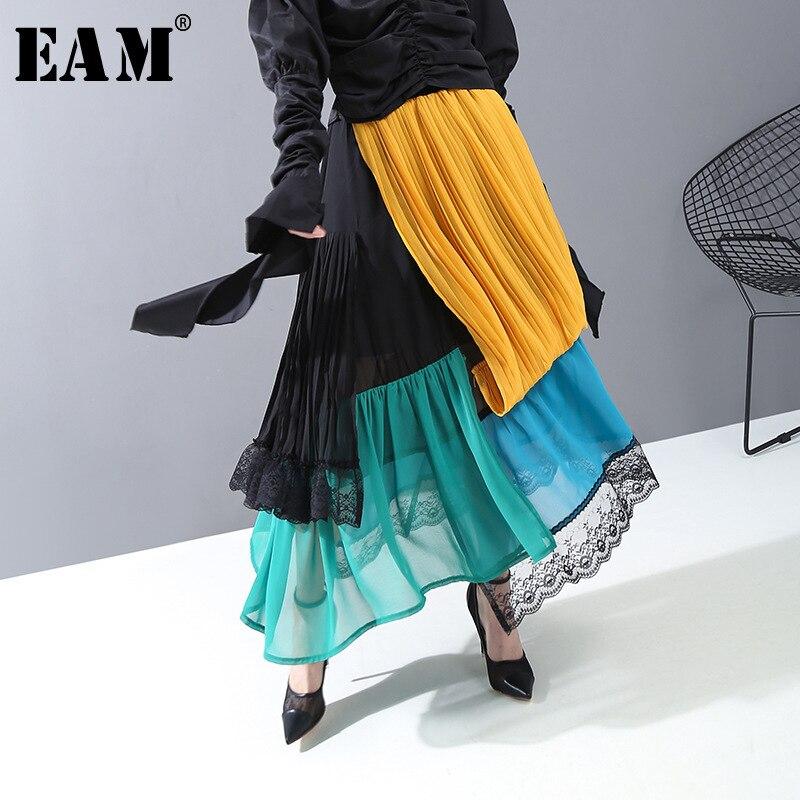 [EAM] High Elastic Waist Pleated Lace Split Temperament Half-body Skirt Women Fashion Tide New Spring Autumn 2020 1R413