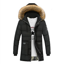 Mens Fall/winter New Cotton Jacket Long Hooded Cotton-padded Casual Padded Down Suit Parkas