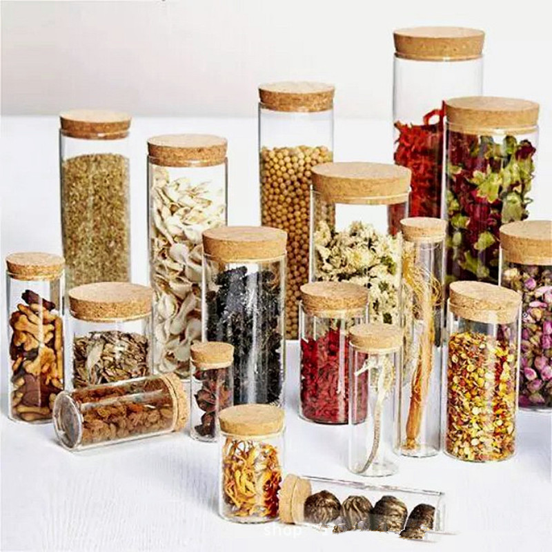 Glass Display Bottle Jar With Lids Tin Cans Spices Storage Box Canister Cookie Jar Cereal Container Airtight Containers For Food