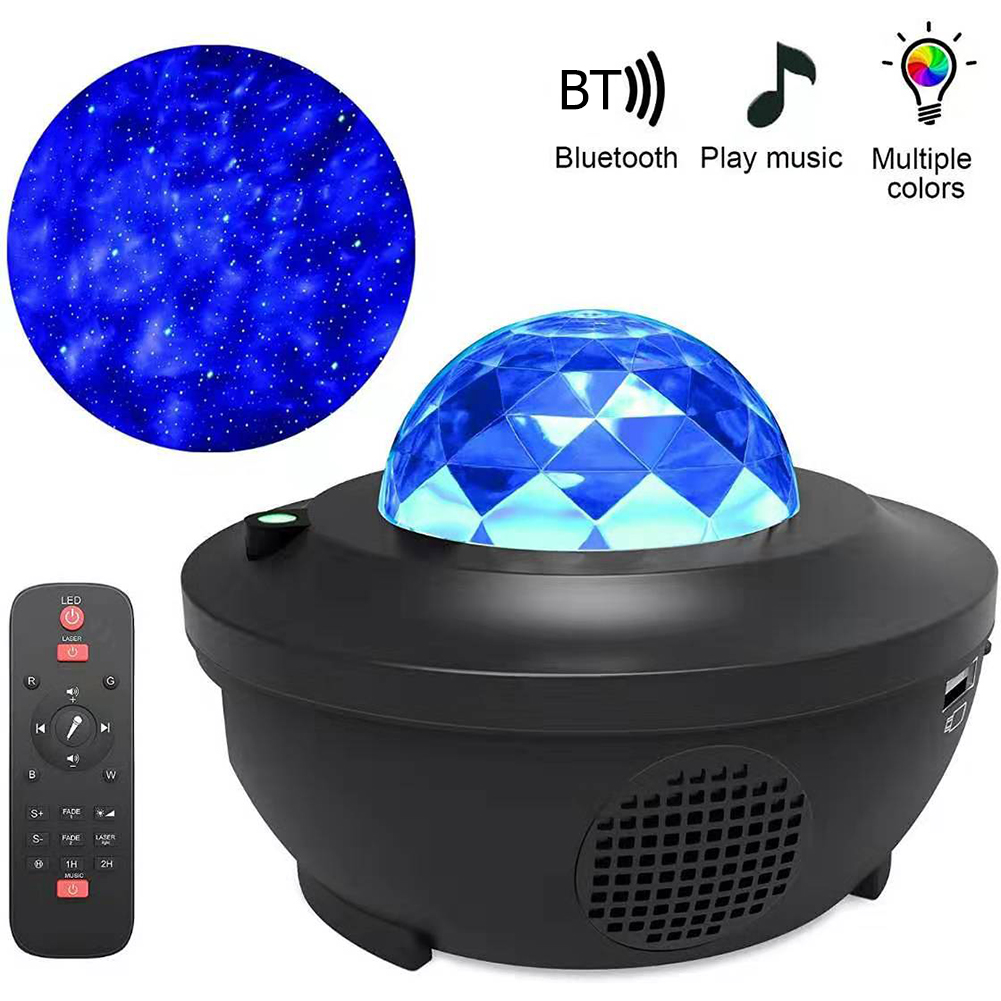 Galaxy Starry LED Projector Light Bluetooth Music Player Remote Control Speaker Ocean Wave USB Charging Projection Lamp Gifts
