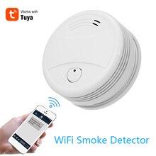 Tuya Intelligent Wifi Strobe Smoke Detector Wireless Fire Alarm Sensor Tuya APP Control Office Home Smoke Alarm Fire Protectio