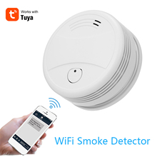 Tuya wi fi inteligente estroboscópio detector de fumaça sem fio sensor de alarme incêndio tuya app controle escritório casa fumaça alarme fogo protectio