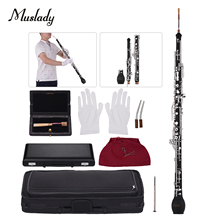 Muslady Professional English Horn Alto Oboe F Key Synthetic Wood Body Silver plated Keys Woodwind Instrument with Reed