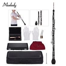 Muslady profissional inglês chifre alto oboé f chave corpo de madeira sintética prata banhado chaves instrumento de sopro de madeira com reed
