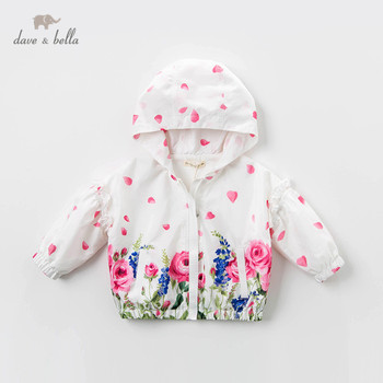 DB13622 dave bella spring baby girls cute zipper floral pockets hooded coat children tops fashion infant toddler outerwear image