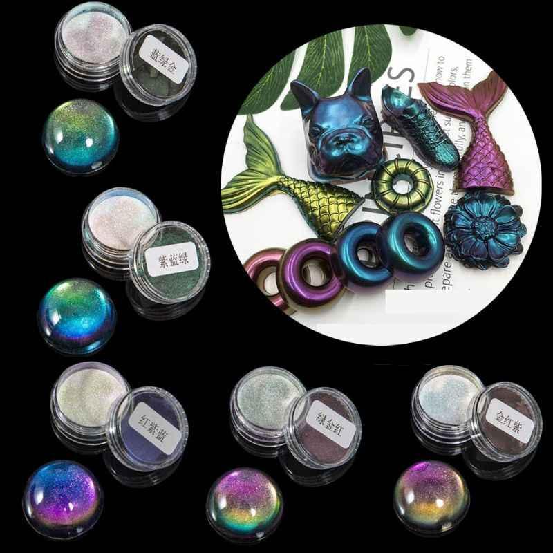 LIANXUE 5 Color Magic Resin Chameleons Pigment Mirror Rainbow Pearl Powder Colorant Epoxy Resin Glitter Resin Jewelry Making Kit