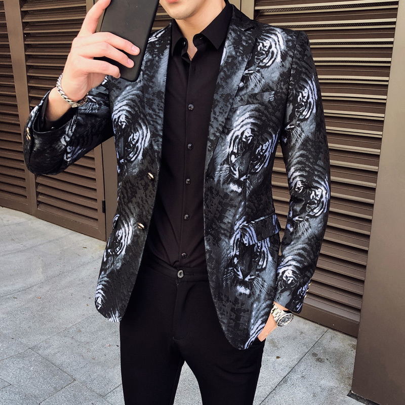 Tiger Print Business Dress Blazers Casual Slim Fit Suit Jacket Fashion Brand Men Blazer High Quality Terno Masculino Plus Size