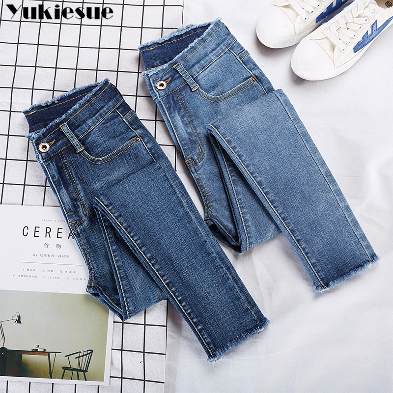 High Waist Woman's Jeans Woman Jean Femme Mujer 2019 Winter Skinny Slim Women's Denim Pencil Pants Mom Jeans For Women Plus Size