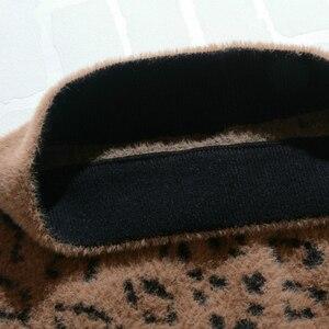Image 4 - Kış sıcak ve seksi kaşmir leopar örme orta kalem etekler sonbahar geri bölünmüş streç tüp buzağı uzun etekler haki bej