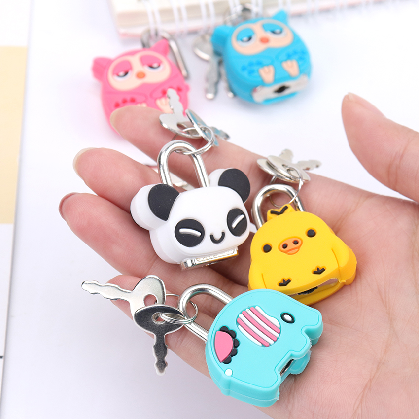 1PC Kawaii Animals Luggage Bag Metal Lock Journal Diary Book Password Lock Creative Cartoon File Holder Accessories