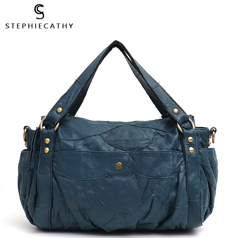 SC Sheepskin Shoulder Bag For Women Luxury Patchwork Style Ladies Real Leather Boston Handbags Female Retro Casual Messenger Bag|Shoulder Bags| |  -