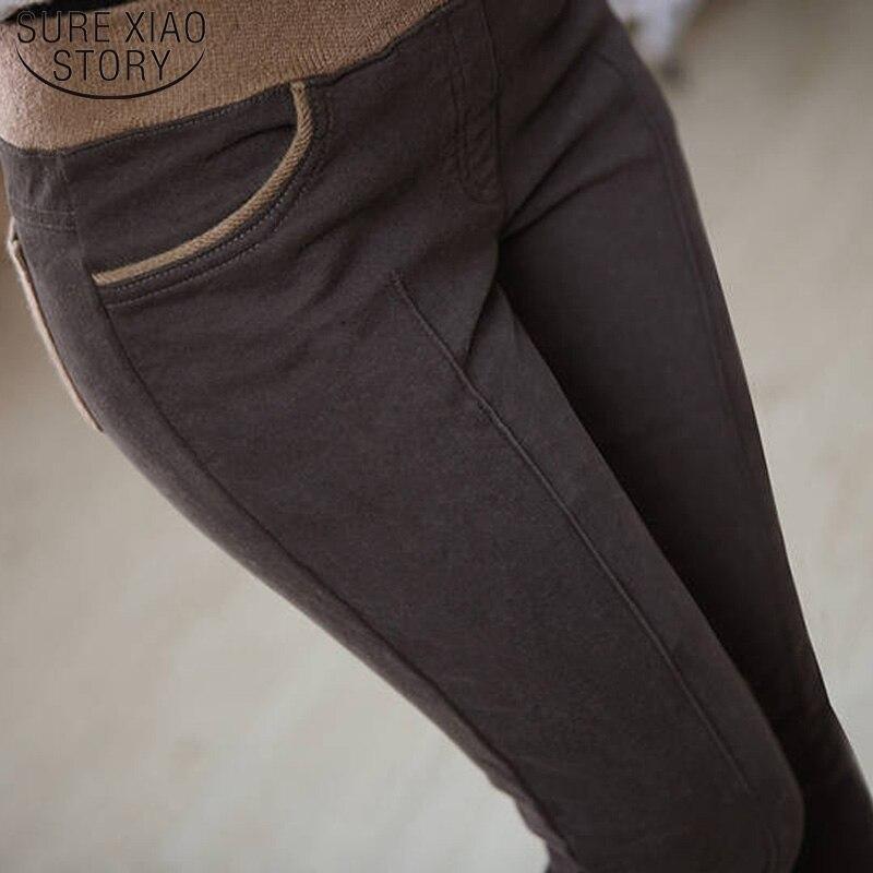 High Elastic Waist Cotton Pants Pencil Pants Plus Size S-4XL Winter Warm Casual Women Thick Panelled Stretch Ladies  6517 50