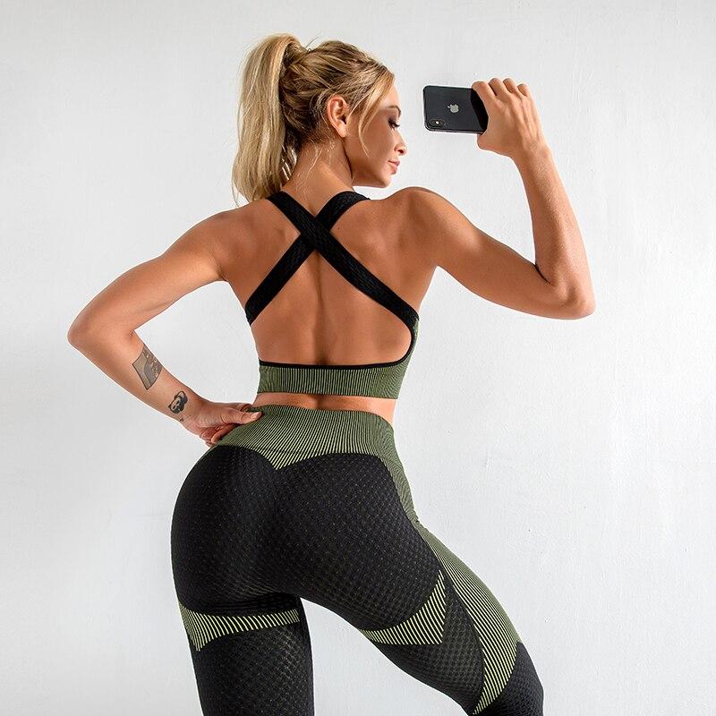 Seamless Women Yoga Sets Female Sport Gym suits