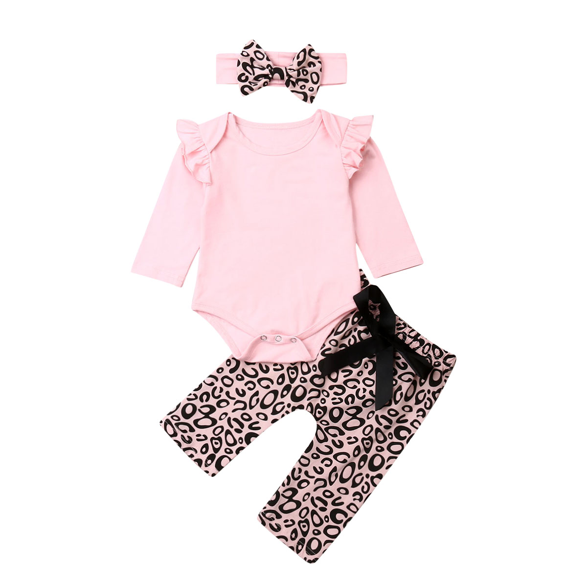 3PCS Baby Infant Girl Daddy/'s Girl Clothes Set Romper+Leopard Pants+Headband New
